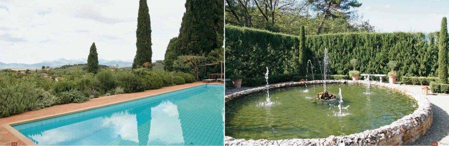Из сада открываются захватывающие виды на Лукку и тосканские пейзажи :: За зеленой стеной прячется овальный водоем с фонтаном
